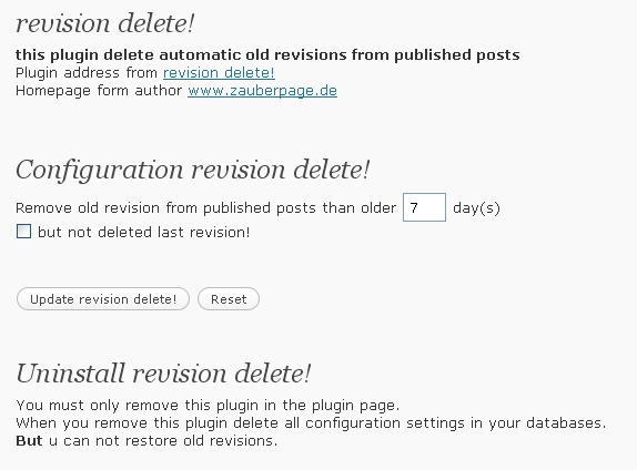 Screenshot from Plugin revision delete!